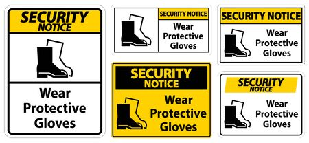 Security Notice Wear protective footwear sign on transparent background