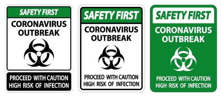 Safety First Coronavirus Outbreak Sign Isolate On White Background,Vector Illustration
