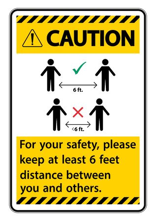 Caution Keep 6 Feet Distance, For your safety,  please keep at least 6 feet distance between you and others.