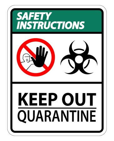 Safety Instructions Keep Out Quarantine Sign Isolated On White Background,Vector Illustration Stock Illustratie