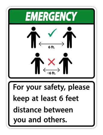 Emergency Keep 6 Feet Distance,For your safety,please keep at least 6 feet distance between you and others.