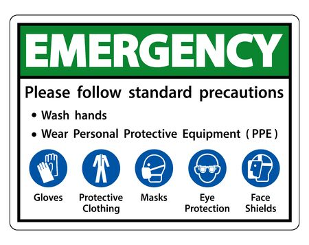Emergency Please follow standard precautions ,Wash hands,Wear Personal Protective Equipment PPE,Gloves Protective Clothing Masks Eye Protection Face Shield Vettoriali