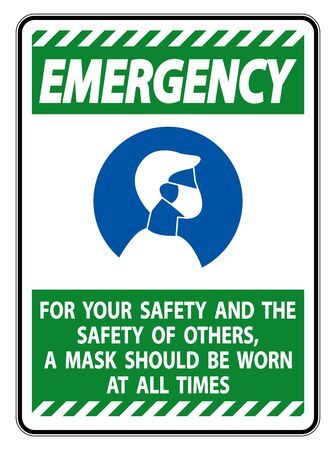Emergency For Your Safety And Others Mask At All Times Sign on white background