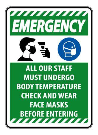 Emergency Staff Must Undergo Temperature Check Sign on white background Vektorgrafik
