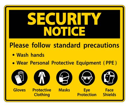 Security Notice Please follow standard precautions ,Wash hands,Wear Personal Protective Equipment PPE,Gloves Protective Clothing Masks Eye Protection Face Shield