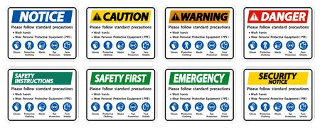 Please follow standard precautions ,Wash hands,Wear Personal Protective Equipment PPE,Gloves Protective Clothing Masks Eye Protection Face Shield