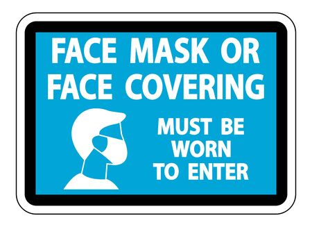 Face Mask Covering Sign on white background