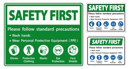 Safety First Please follow standard precautions ,Wash hands,Wear Personal Protective Equipment PPE,Gloves Protective Clothing Masks Eye Protection Face Shield