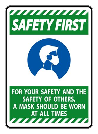Safety First For Your Safety And Others Mask At All Times Sign on white background