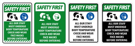 Safety First Staff Must Undergo Temperature Check Sign on white background 일러스트