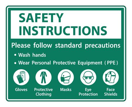 Safety Instructions Please follow standard precautions ,Wash hands,Wear Personal Protective Equipment PPE,Gloves Protective Clothing Masks Eye Protection Face Shield Vettoriali