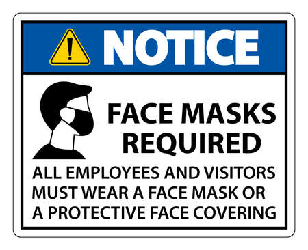 Notice Face Masks Required Sign on white background