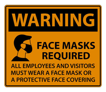 Warning Face Masks Required Sign on white background