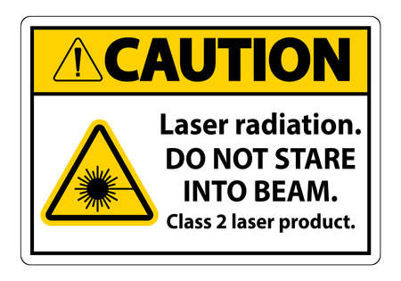 Caution Laser radiation,do not stare into beam,class 2 laser product Sign on white background  イラスト・ベクター素材
