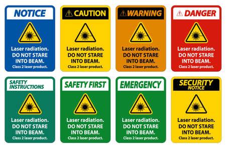 Laser radiation,do not stare into beam,class 2 laser product Sign on white background Vektoros illusztráció