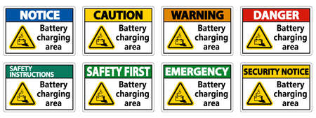 Battery charging area Sign on white background Ilustração