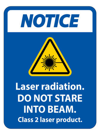 Notice Laser radiation,do not stare into beam,class 2 laser product Sign on white background  イラスト・ベクター素材