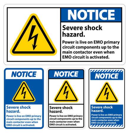 Notice Severe shock hazard sign on white background Ilustração