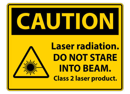 Caution Laser radiation,do not stare into beam,class 2 laser product Sign on white background 矢量图像