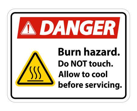 Danger Burn hazard safety,Do not touch label Sign on white background 向量圖像