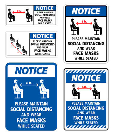 Notice Maintain Social Distancing Wear Face Masks Sign on white background 向量圖像