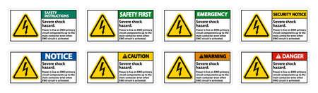 Severe shock hazard sign on white background 向量圖像