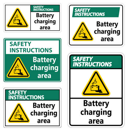 Safety Instructions Battery charging area Sign on white background