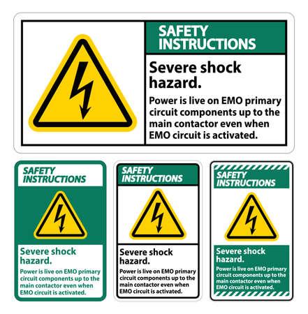 Safety Instructions Severe shock hazard sign on white background