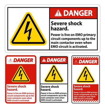 Danger Severe shock hazard sign on white background 向量圖像