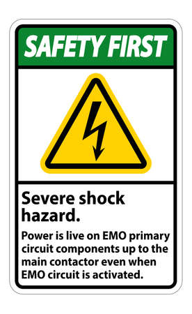 Safety First Severe shock hazard sign on white background