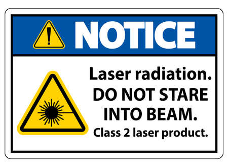 Notice Laser radiation,do not stare into beam,class 2 laser product Sign on white background Ilustração
