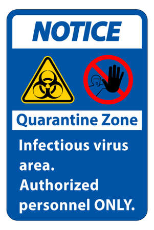 Notice Quarantine Infectious Virus Area sign on white background