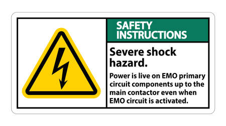 Safety Instructions Severe shock hazard sign on white background