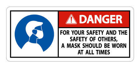 Danger For Your Safety And Others Mask At All Times Sign on white background Ilustração