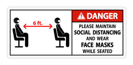 Danger Maintain Social Distancing Wear Face Masks Sign on white background