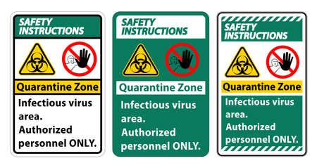 Safety Instructions Quarantine Infectious Virus Area sign on white background