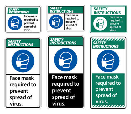 Safety Instructions Face mask required to prevent spread of virus sign on white background Ilustração