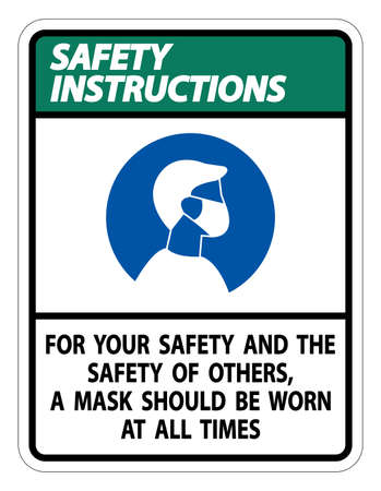 Safety Instructions For Your Safety And Others Mask At All Times Sign on white background