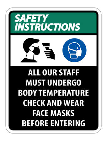 Safety Instructions Staff Must Undergo Temperature Check Sign on white background Ilustração
