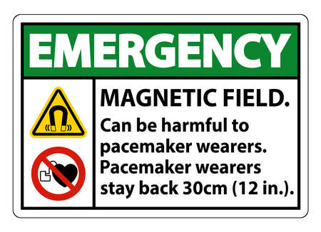 Emergency Magnetic field can be harmful to pacemaker wearers.pacemaker wearers.stay back 30cm Ilustração