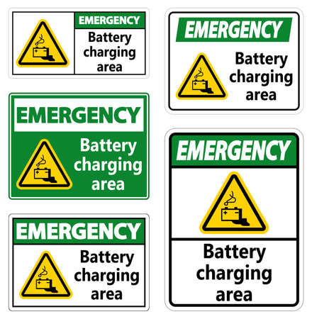 Emergency Battery charging area Sign on white background