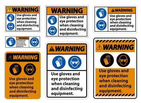 Warning Use Gloves And Eye Protection Sign on white background