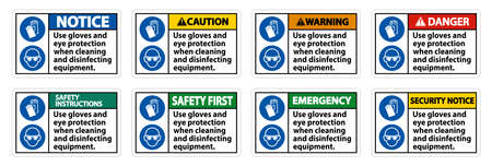Use Gloves And Eye Protection Sign on white background