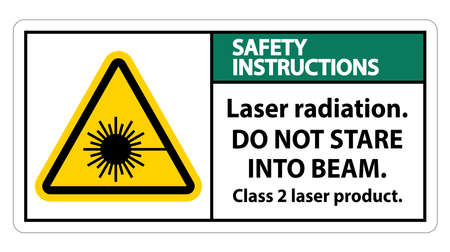 Safety Instructions Laser radiation,do not stare into beam,class 2 laser product Sign on white background