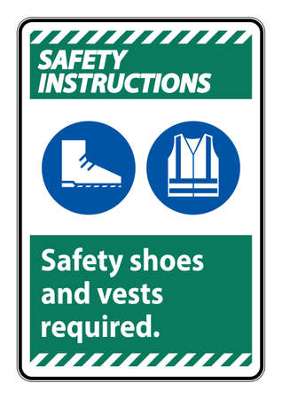 Safety Shoes And Vest Required With PPE Symbols on white background