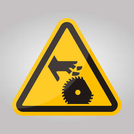 Cutting Of Fingers Or Hand Rotating Blade Symbol Sign, Vector Illustration, Isolate On White Background Label .EPS10
