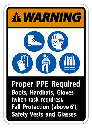 Warning Sign Proper PPE Required Boots, Hardhats, Gloves When Task Requires Fall Protection With PPE Symbols