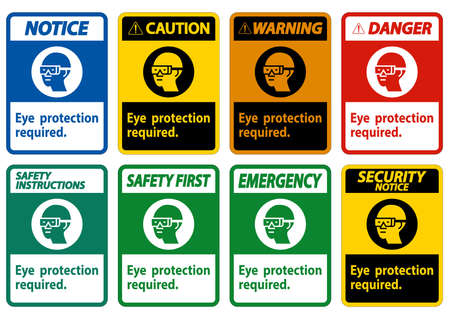 Eye Protection Required Symbol Sign Isolate on White Background