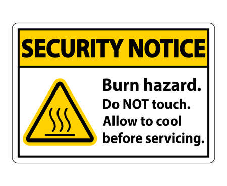 Security Notice Burn hazard safety,Do not touch label Sign on white background Vetores