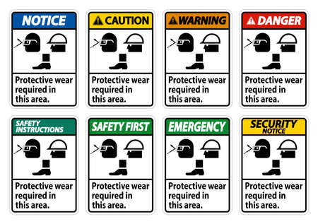 Protective Wear Is Required In This Area.With Goggles, Hard Hat, And Boots Symbols on white background